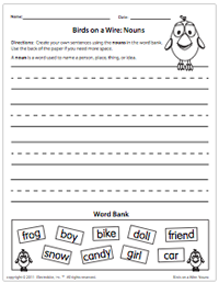 Birds on a Wire: Nouns Worksheet