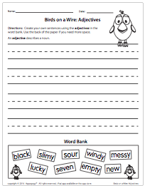 Birds on a Wire: Adjectives Worksheet